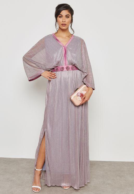 Metallic Kimono Sleeve Tie Back Maxi Dress