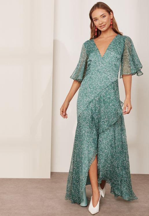 Genesis Asymmetric Ruffle Maxi Dress