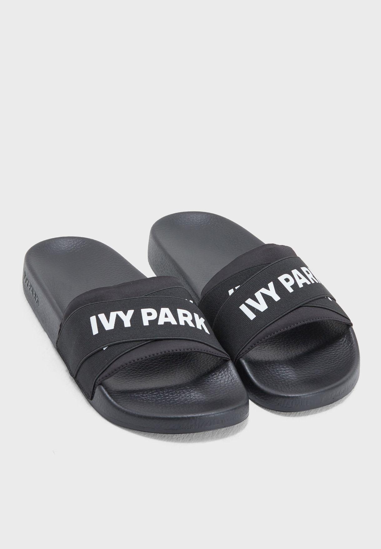 dcd1aee70e5538 Shop Ivy Park black Logo Strap Slider 29E18QBLK for Women in Qatar -  IV938SH02RFD