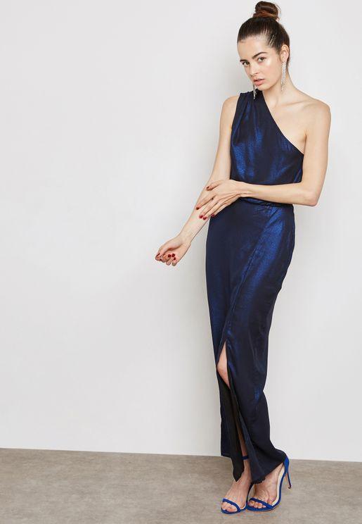 Petite One Shoulder Shimmer Maxi Dress