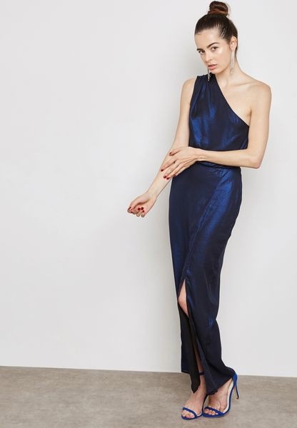 Petite One Shoulder Shimmer Maxi Dress