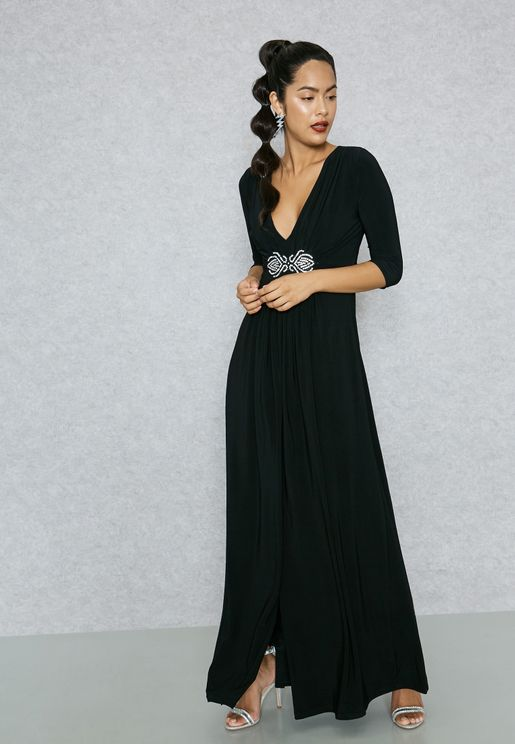 Embellished Gathered Slit Dress