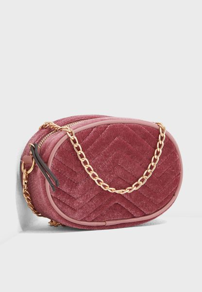 Quilted Velour Crossbody