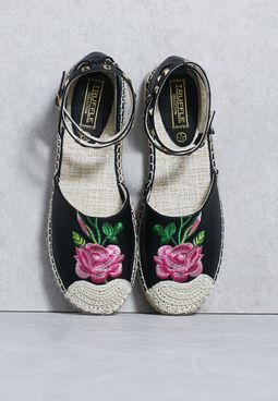 Studded Ankle Strap Embroidered Espadrille
