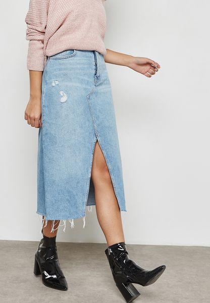 Ripped Slit Detail Denim Skirt