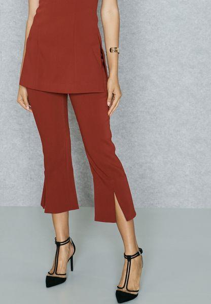 Front Slit Crop Pants