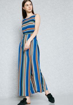 Front Split Striped Maxi Dress