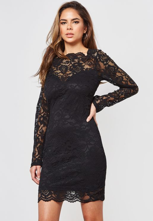 Scallop Neck Long Sleeve Lace Mini Dress