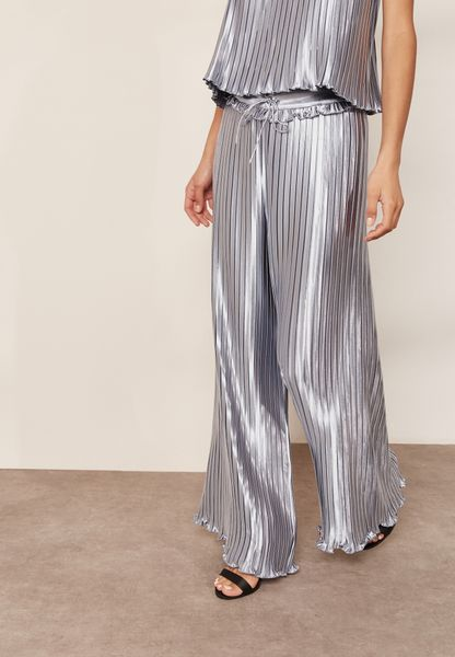Wide Leg Pleated Slinky Pants