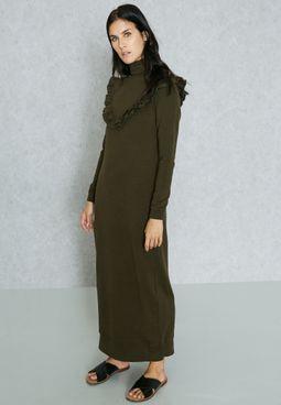 Ruffle Paneled Maxi Dress