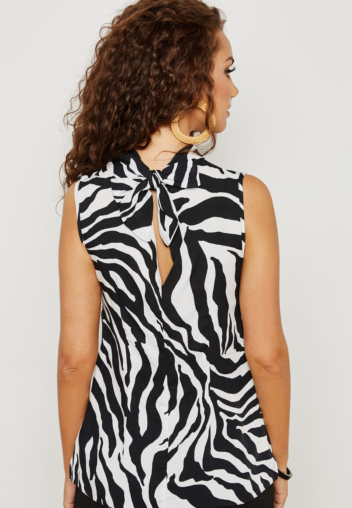 Zebra Print High Neck Top