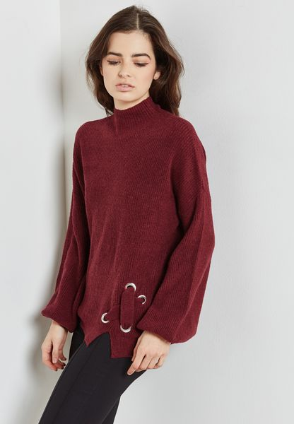 Eyelet Detail High Neck Sweater