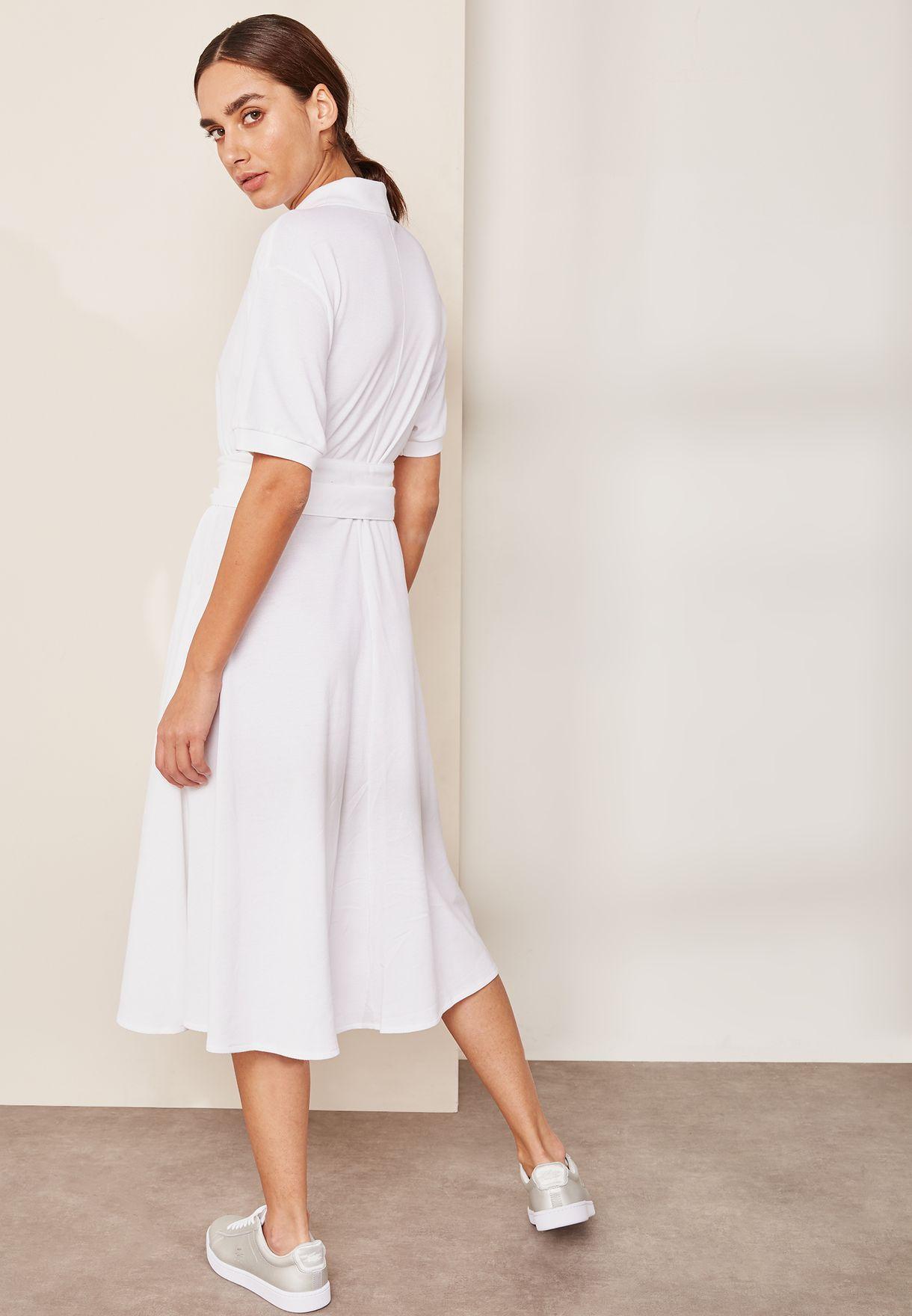 b1793fe4f247e Shop Lacoste white Belted Dress EF3089-00 for Women in UAE ...