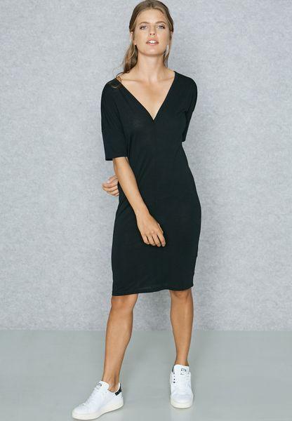 Shop Jacqueline De Yong black V Neck Shift Dress 15143893 for Women in Oman  - JA609AT02GAB