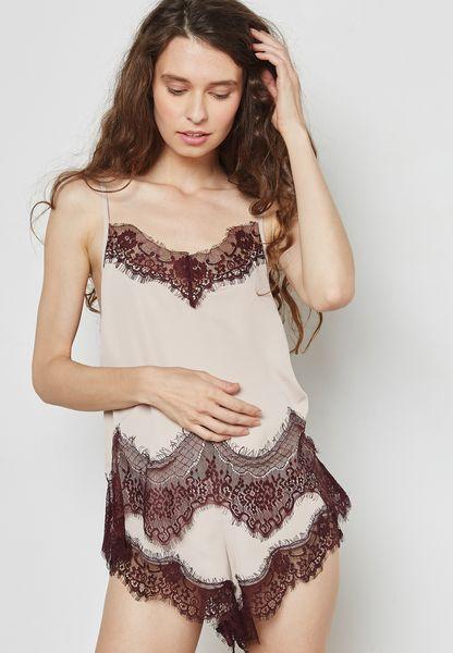 Lace Detail Pyjama Cami Set