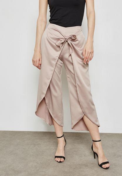 Wrap Front Tie Satin Pants