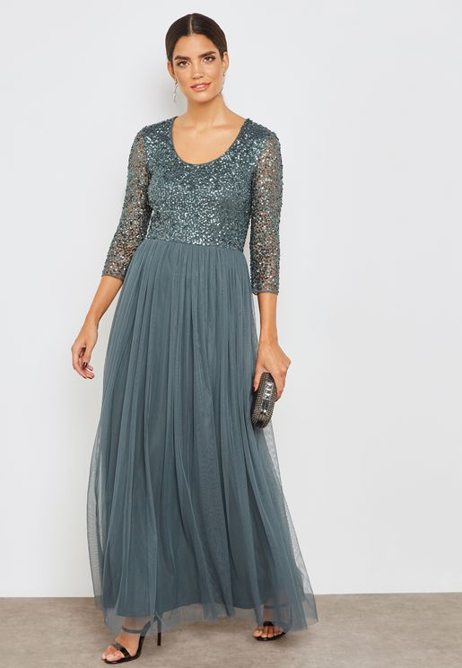 Sequin Long Sleeve Maxi Dress