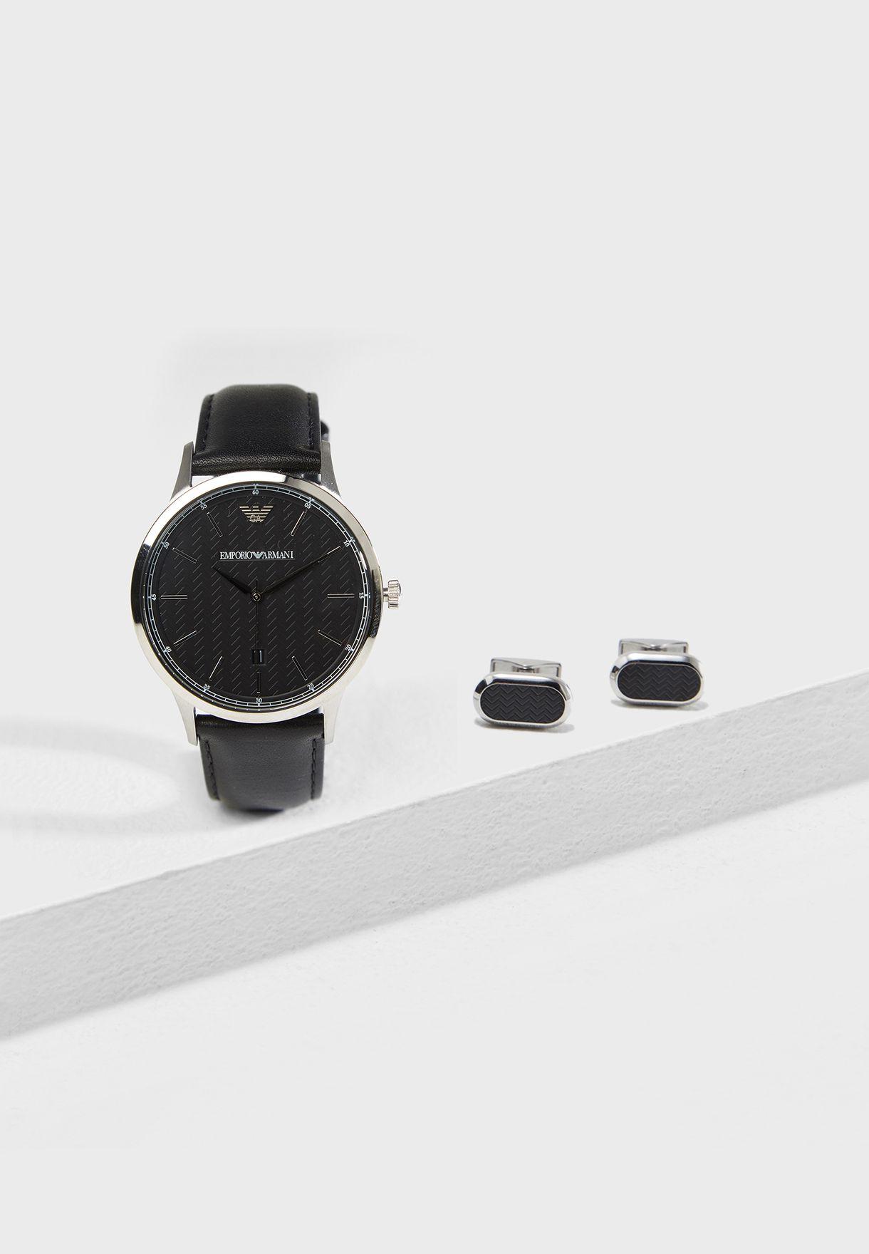 26e454c3e تسوق طقم (ساعة كلاسيكية + ازرار لأساور القميص) ماركة امبريو ارماني ...