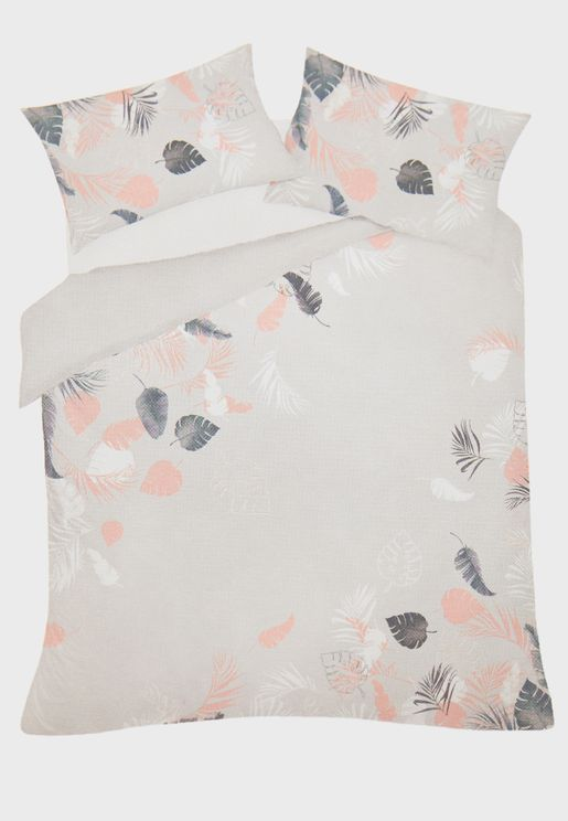 Leaf Print Double Bedding Set
