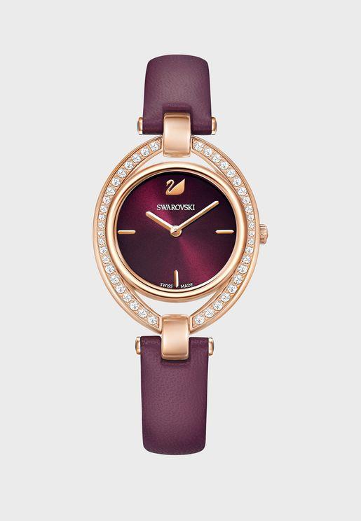 ساعة جلد اصلي مزينة بالكريستال