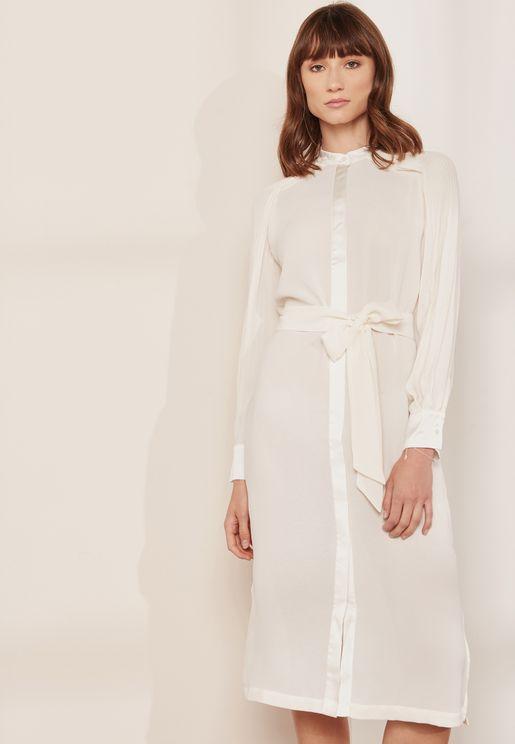 فستان بنمط قميص مع اربطة