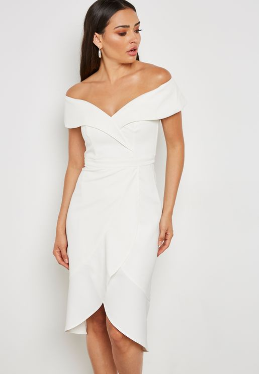 Asymmetric Bardot Dress