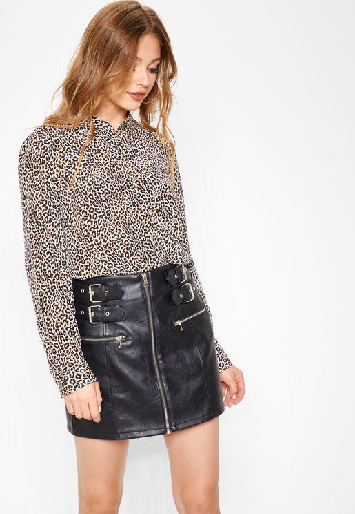 Full Zip Buckle Detail Skirt