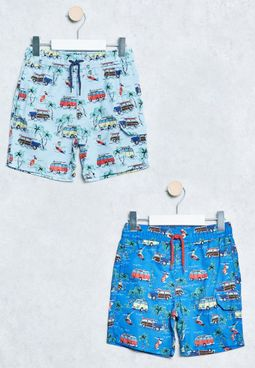 Infant 2 Pack Retro Swim Shorts