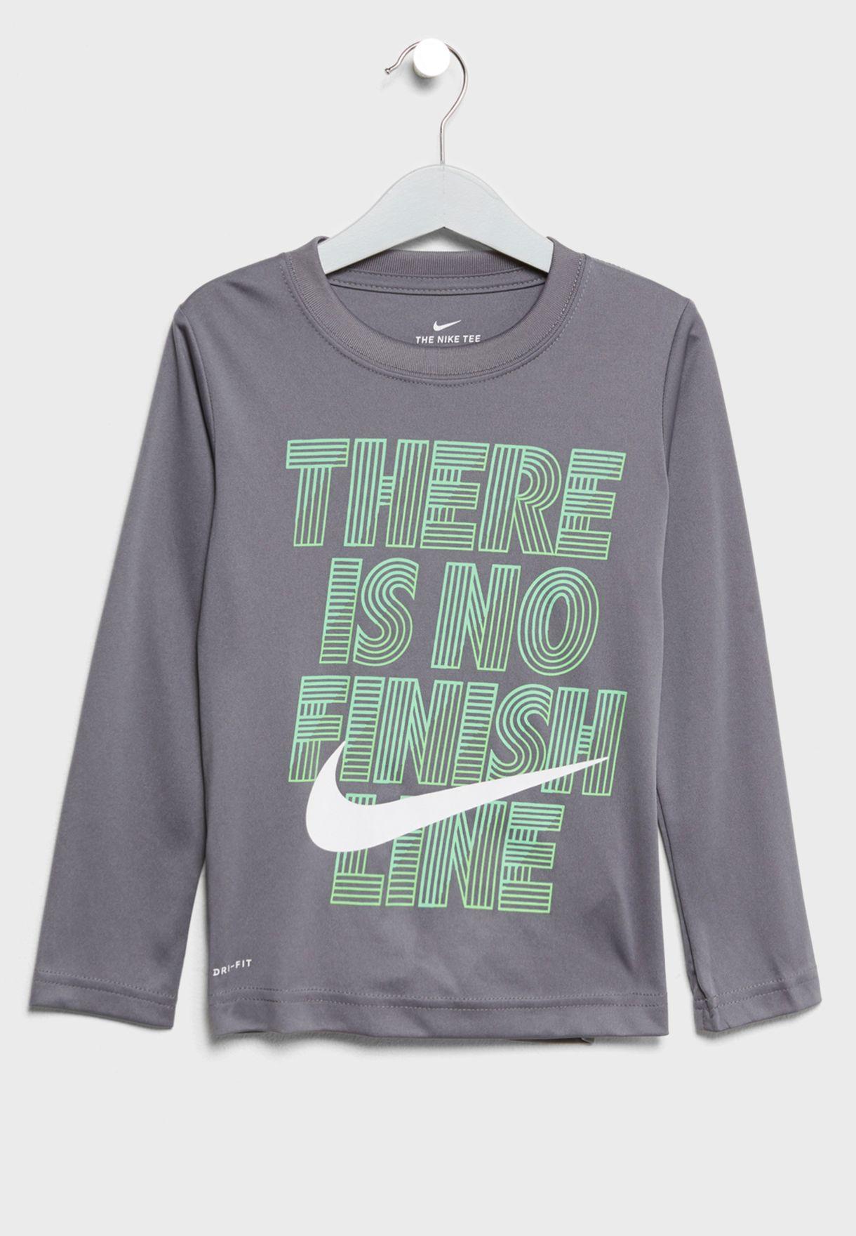 691ed008 Shop Nike grey Kids Slogan T-Shirt 86C767-G1A for Kids in Kuwait ...