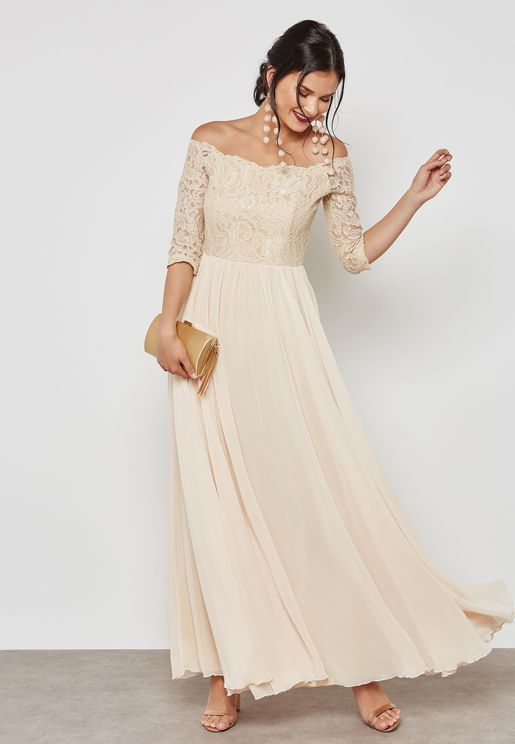 Lace Top Bardot Maxi Dress