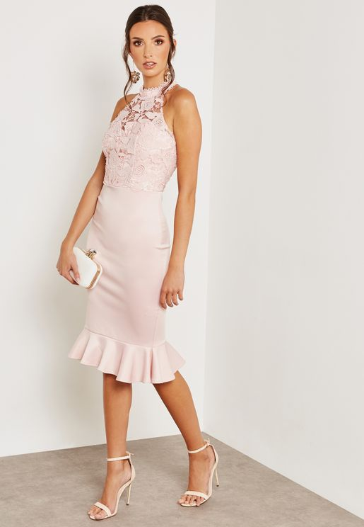 Sleeveless Lace Pephem Dress