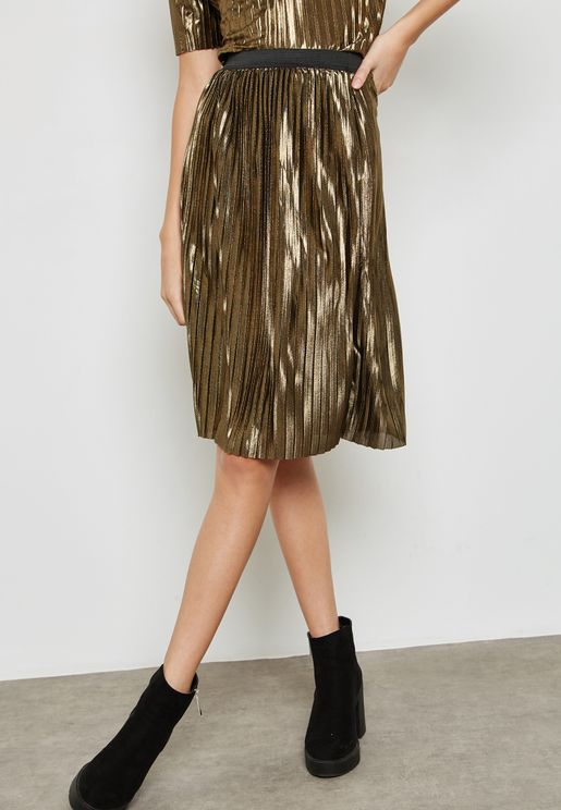 Metallic Plisse Skirt