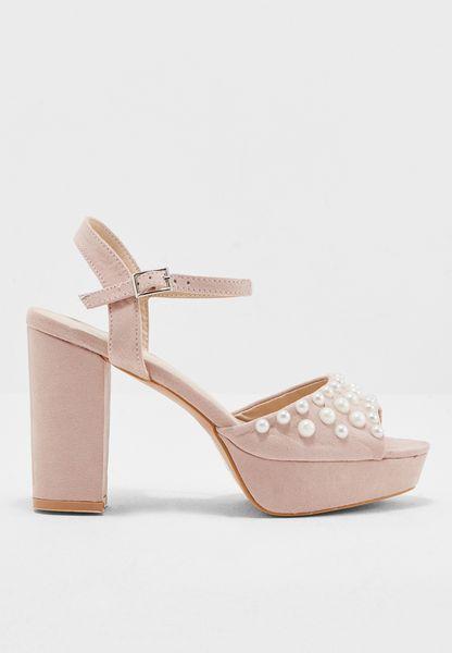 Beaded Block Heel Sandal