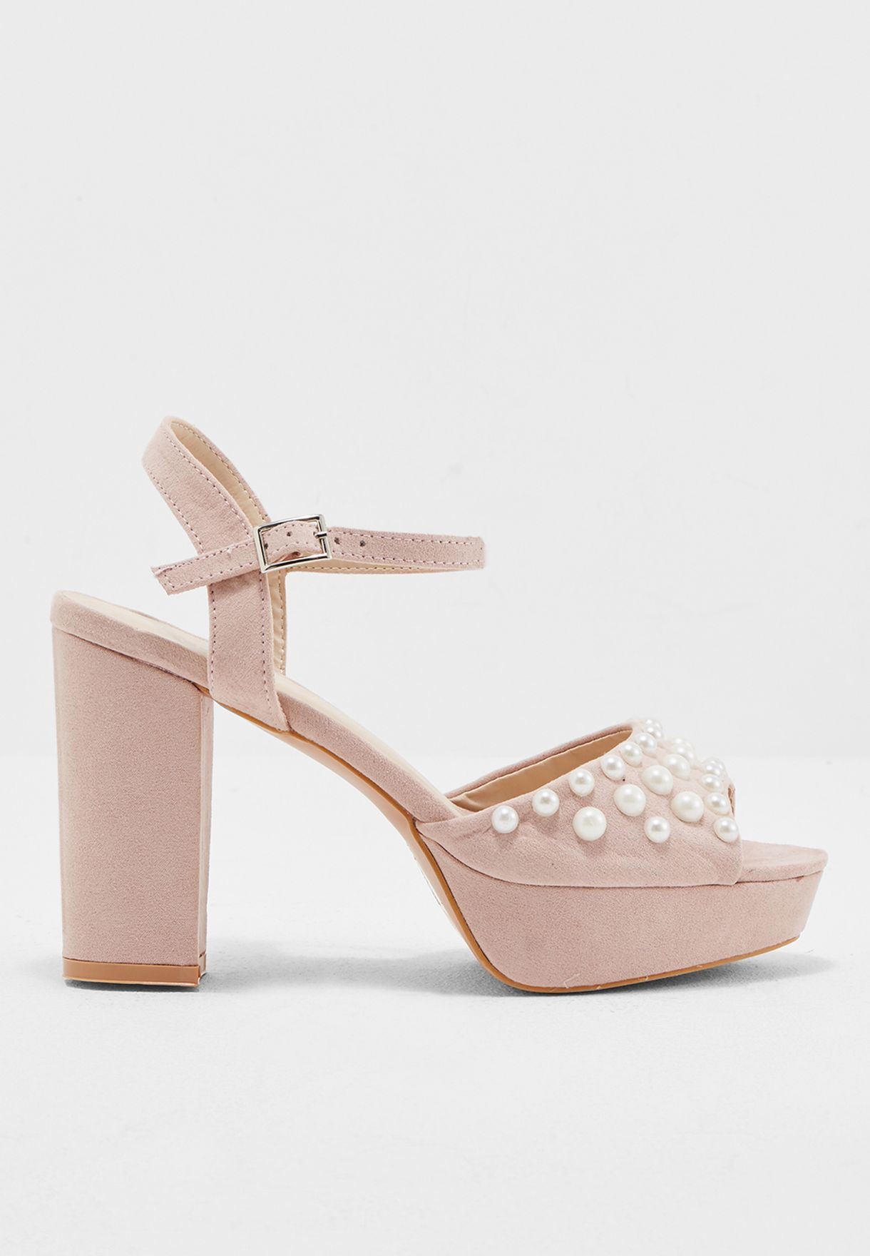 Beaded Block Heel Sandal