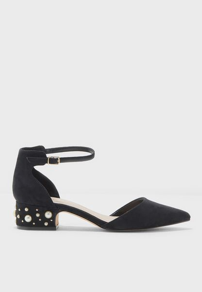 Pointy Toe Pumps With Embellished Heel