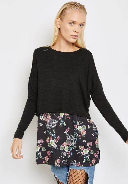Contrast Floral Layered Sweater