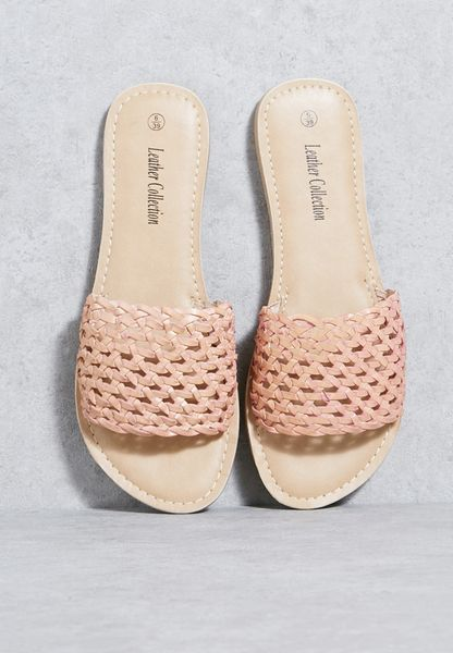 Real Leather Weave Sandals