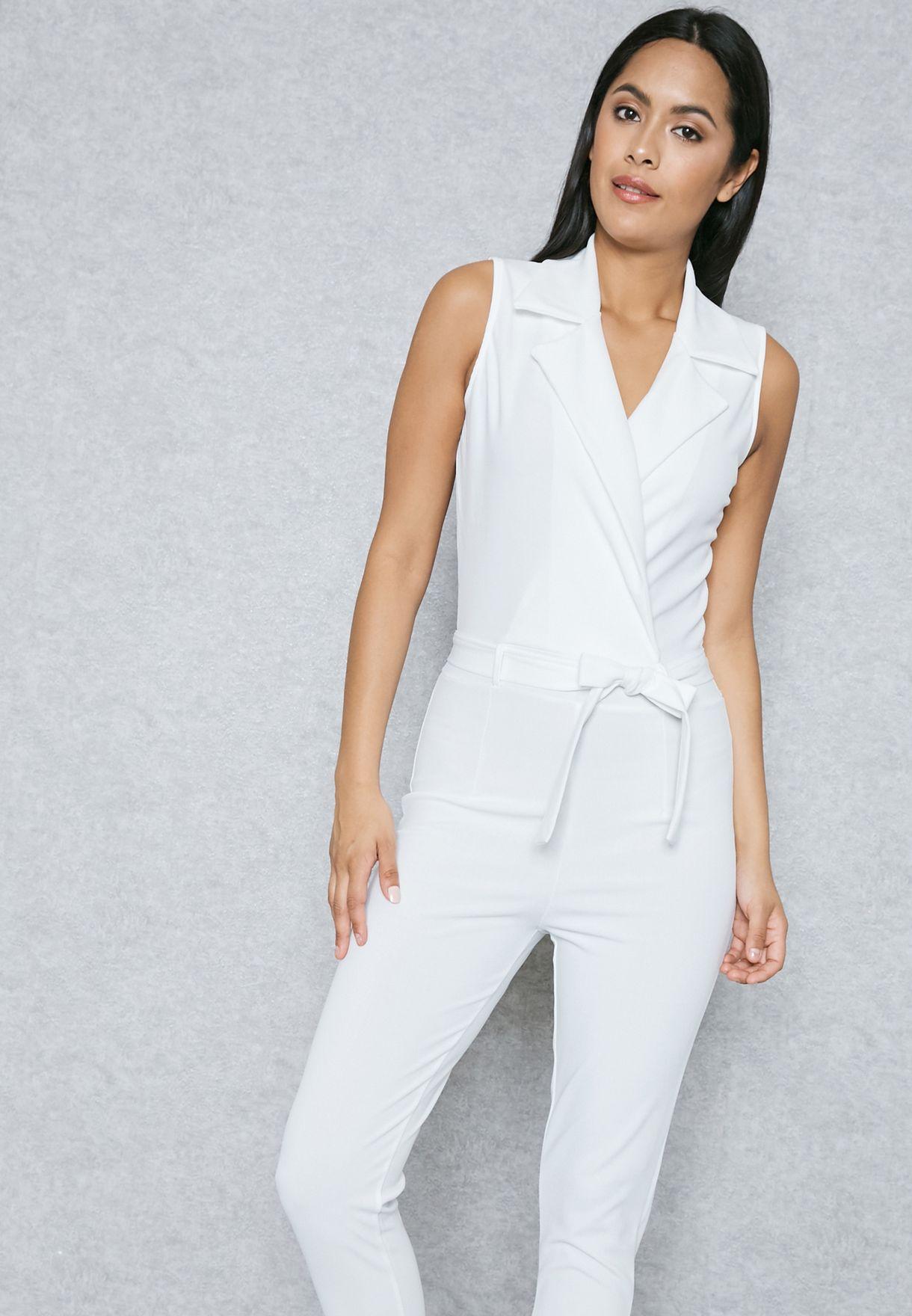 69f66693ae23 Shop Ella white Wrap Front Tie Jumpsuit T2067 for Women in Saudi -  EL314AT02CWJ