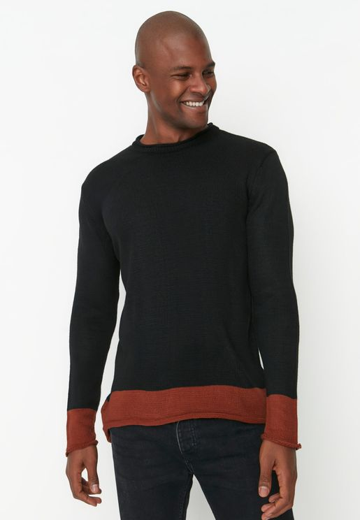 Contrast Hem Knitted Sweater