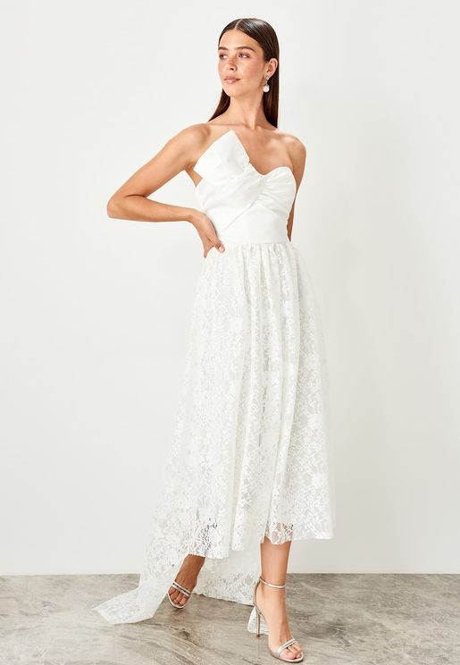 High Low Bandeau Lace Dress