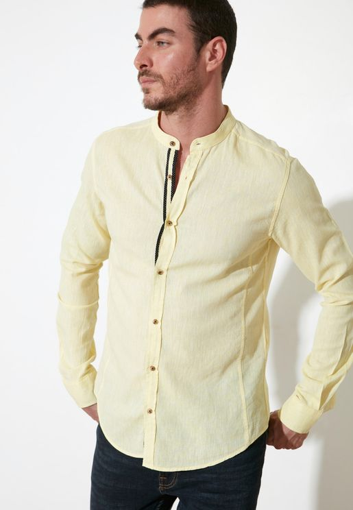 Textured Granded Collar Slim Fit Shirt