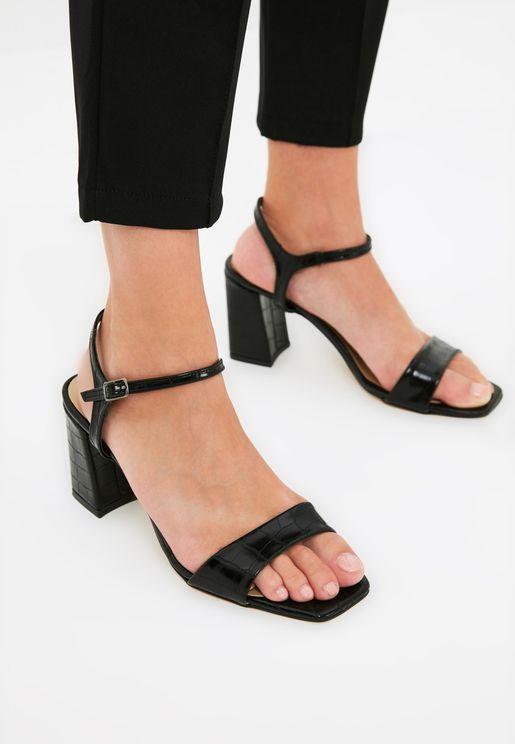 Flat Toe Crocodile Detailed Women'S Classic Heeled