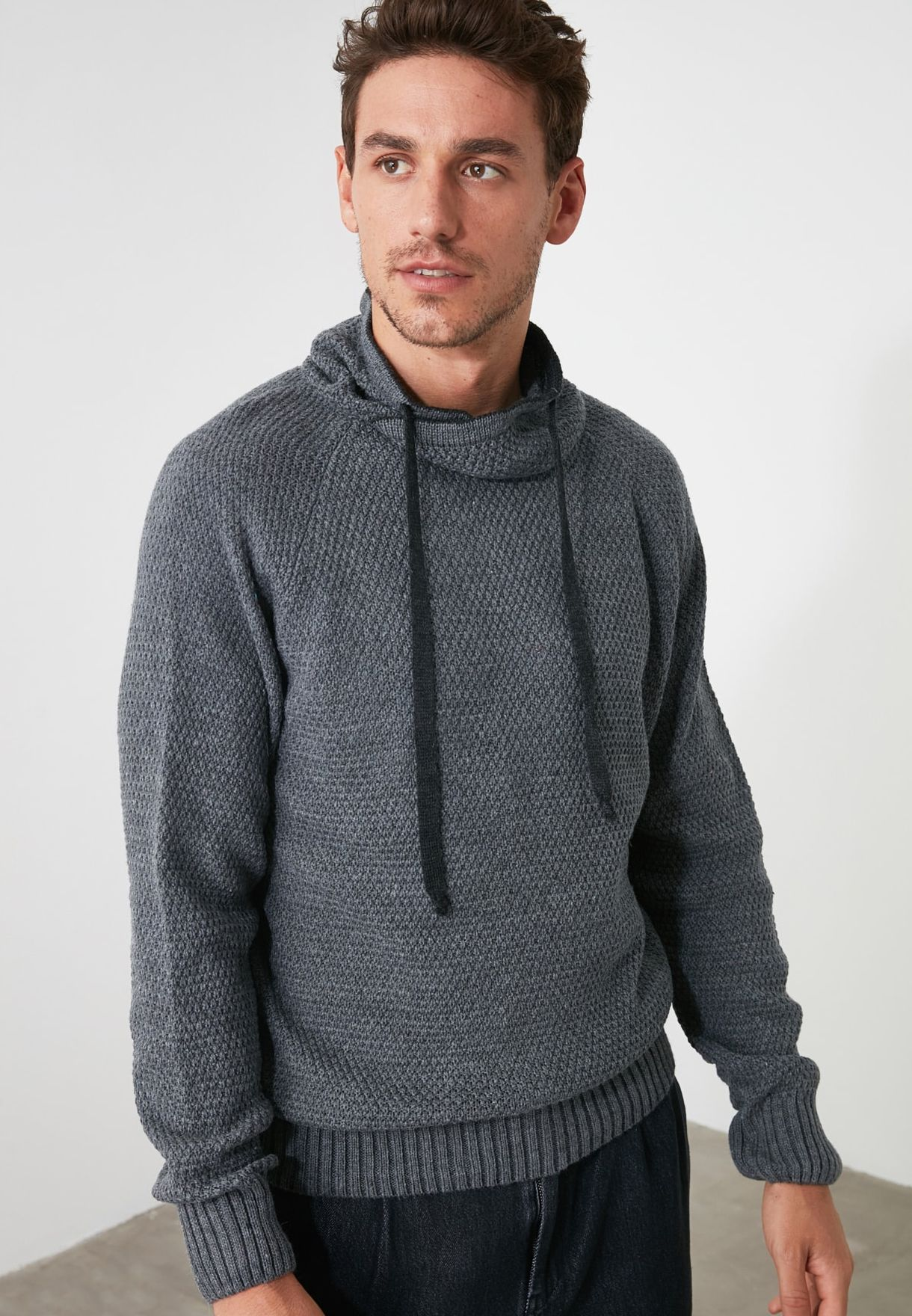 Shawl Neck Knitted Sweater