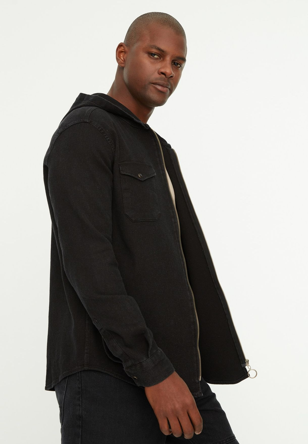Zip Detail Hooded Relaxed Shirt