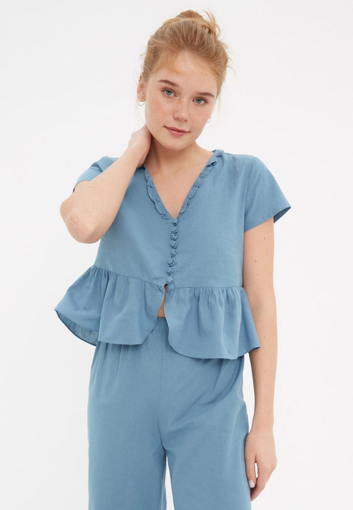 Ruffle Trim Peplum Top & Pyjama Set
