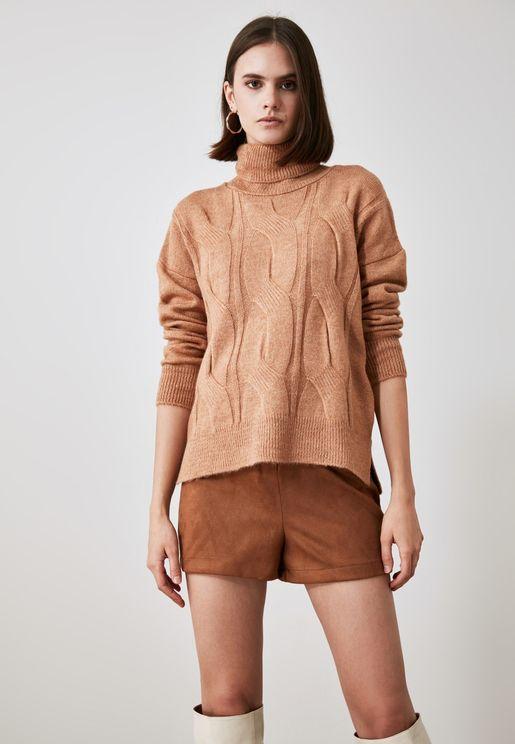 Knit Detailed Turtleneck Knitwear Sweater