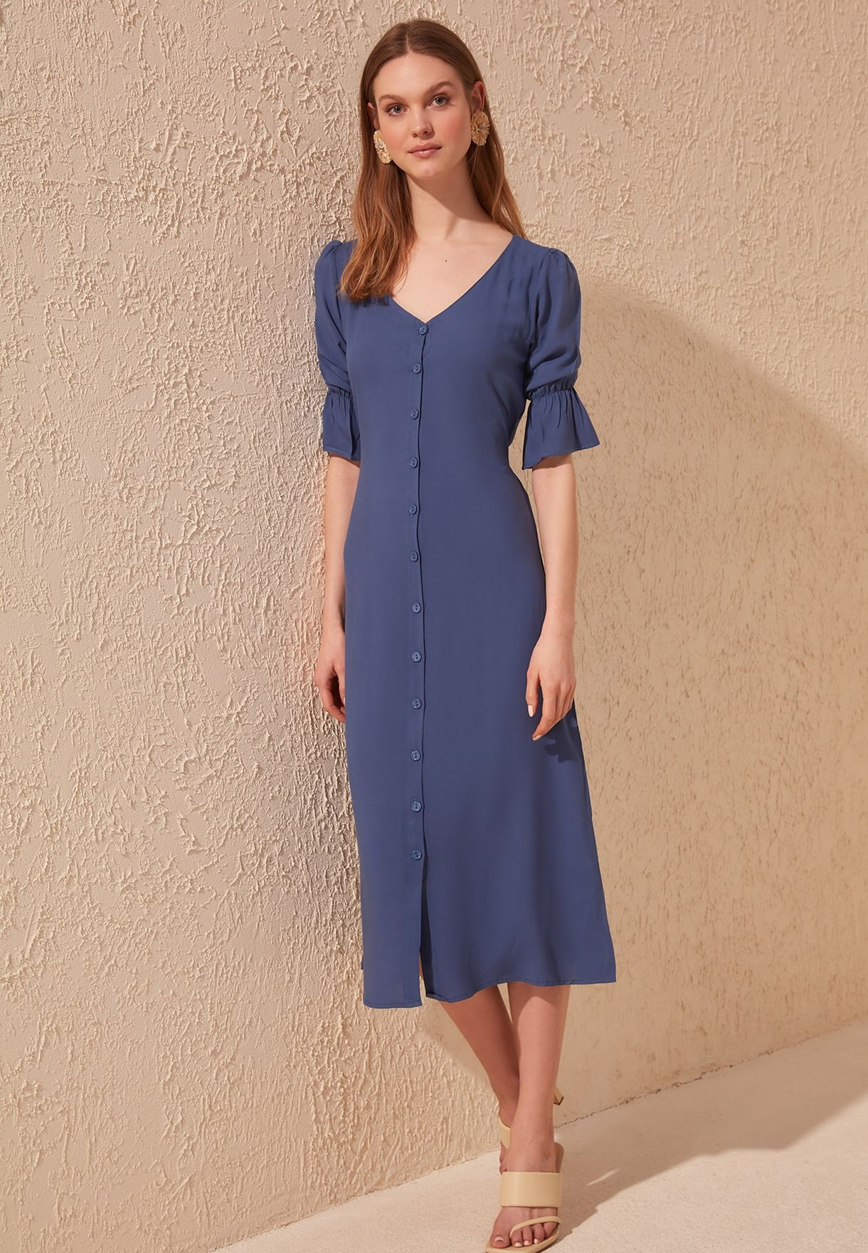 Flute Sleeve Shirt Dress