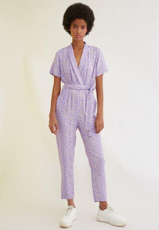 Printed Wrap Jumpsuit