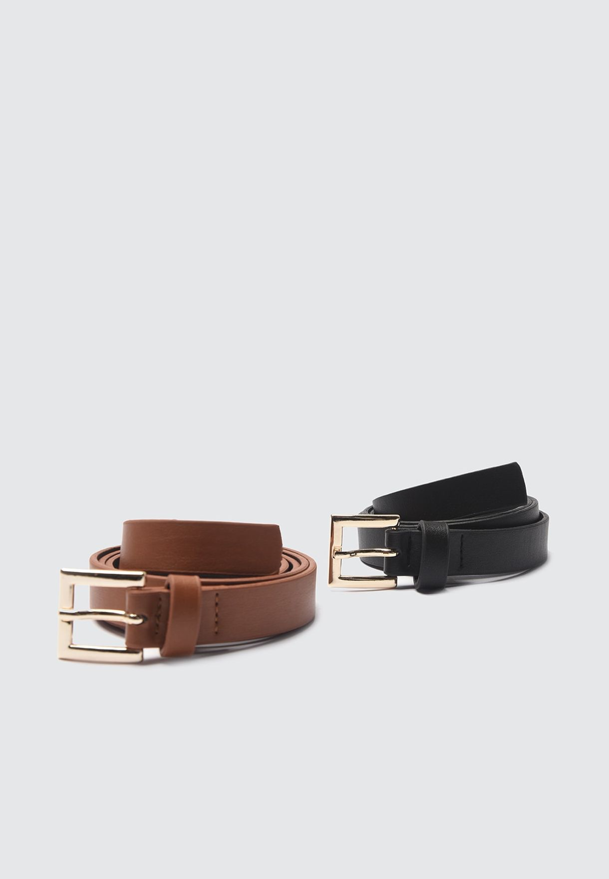 2 Pack Leather Look Allocated Hole Belt