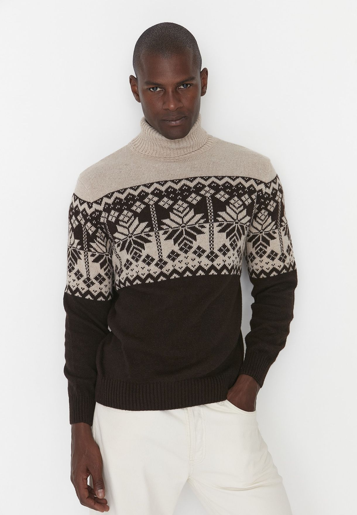 Jacquard Turtle Neck Sweater
